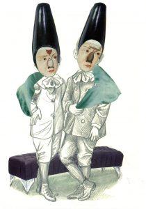Die Brüder, Bleistift-Gouache-Collage 2013, 30 x 21 cm