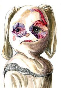 Die Maskierung, Bleistift-Gouache 2011, 30 x 21 cm