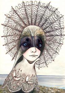 Hundeauge, Bleistift-Gouache-Collage 2012, 30 x 21 cm