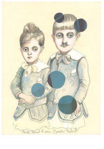 Marcel Proust mit seinem Bruder, Bleistift-Gouache-Collage 2014, 35 x 24 cm