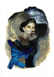 ohne Titel, Gouache-Collage 2013, 30 x 21 cm