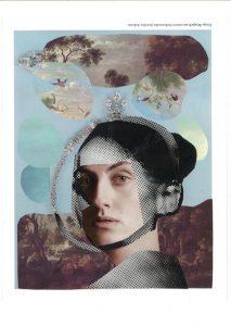 collagiertes Portrait einer Frau, auf blauen Hintergrund mit einzelnen Gemäldewolken